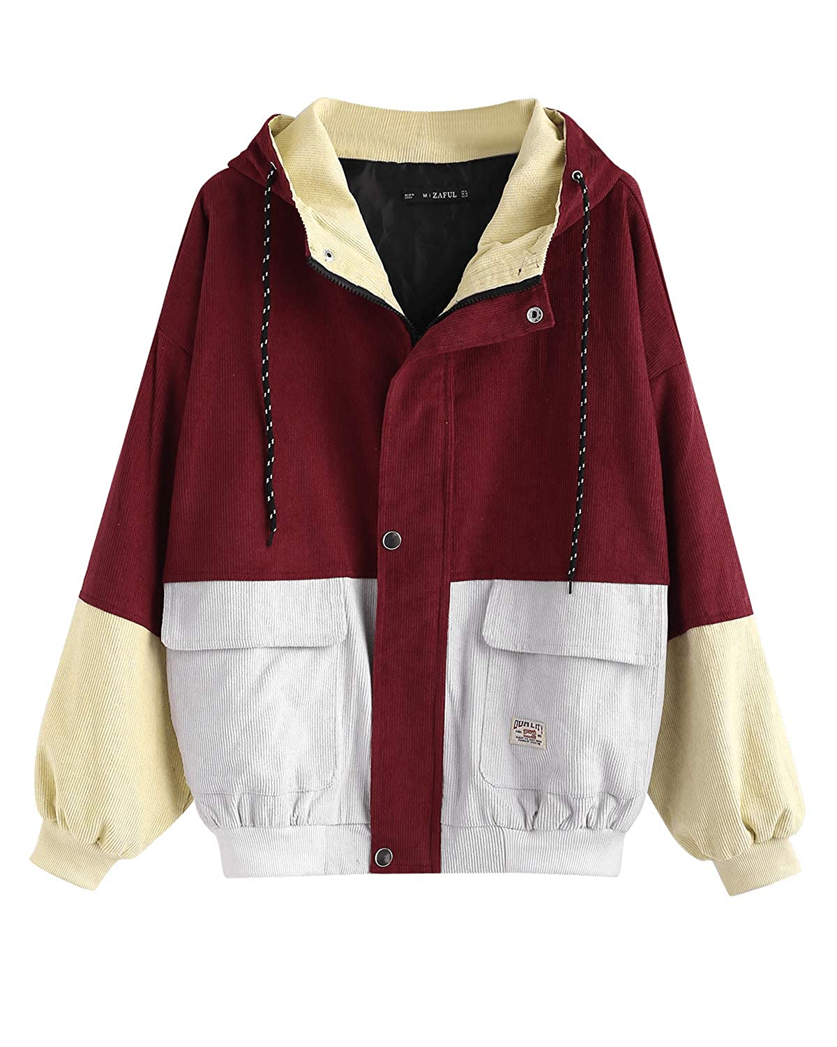 449f2a9733 Amazon.com: ZAFUL Women Teen Hooded Color Block Corduroy Jacket Long Sleeve  Oversized Coat: Clothing