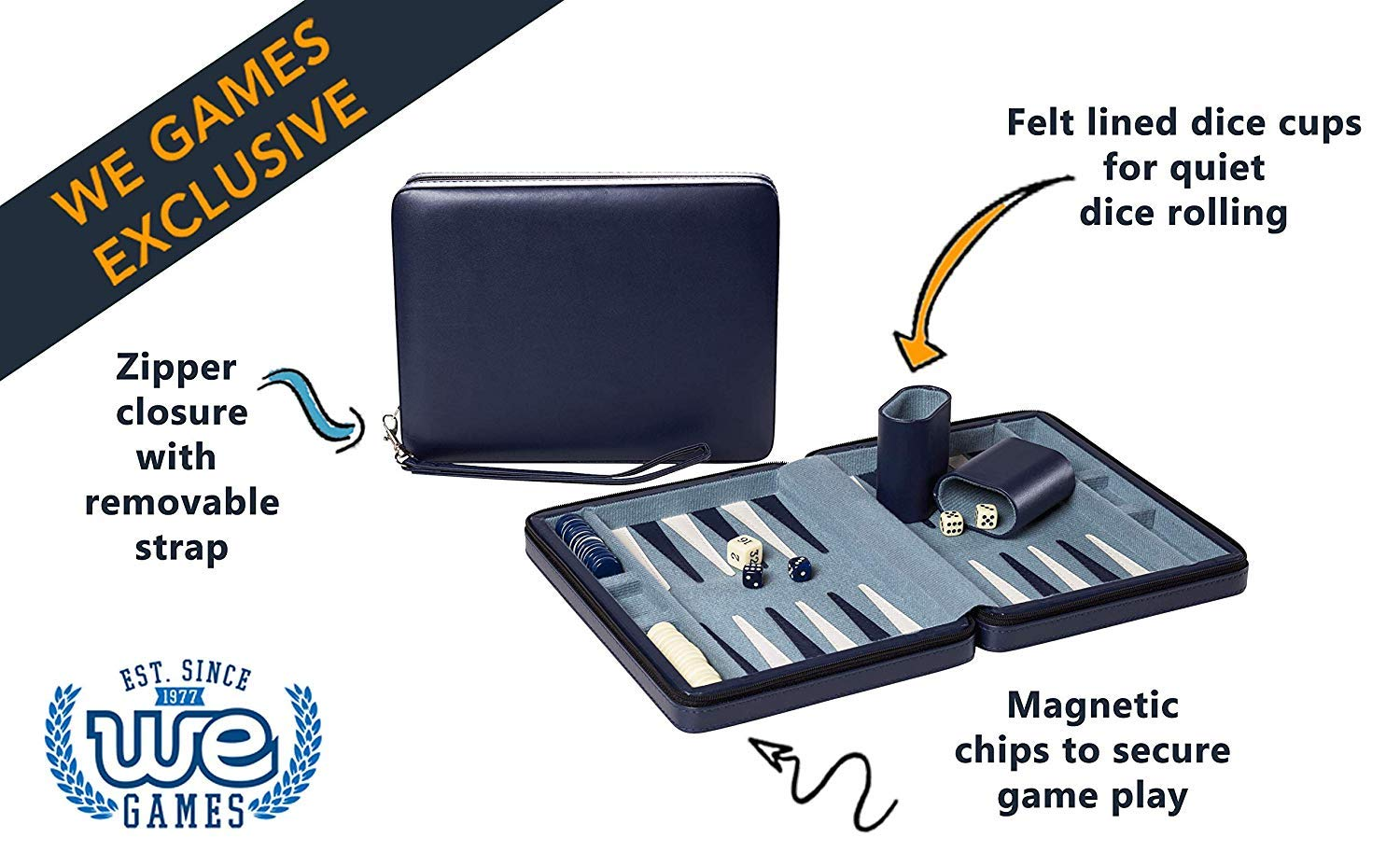Wood Expressions WE Games Blue Magnetic Backgammon Set with Carrying Strap - Travel Size by WE Games (Image #3)
