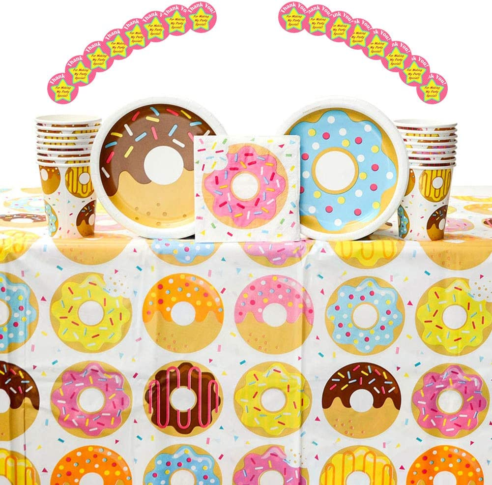Donut Time! Donut Themed Party Supplies Pack for 16 Guests | 16 Stickers, 16 Paper Dessert Plates, 16 Paper Beverage Napkins, 16 Paper Cups, and 1 Table Cover | Donut Birthday Party Decorations