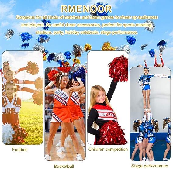 Lot de 12 pompons Cheerleader pour football basket-ball Cheers avec poign/ée en plastique