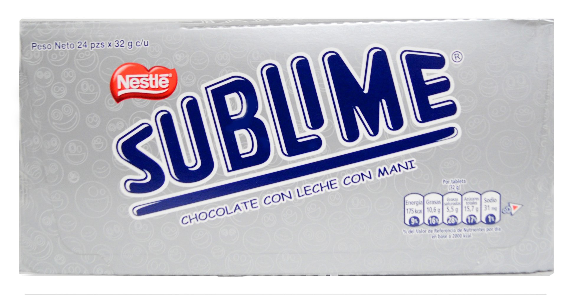 Sublime Chocolate Peru Con Leche Y Mani/chocolate with Milk and Peanuts 2 boxes of 24 pieces ea
