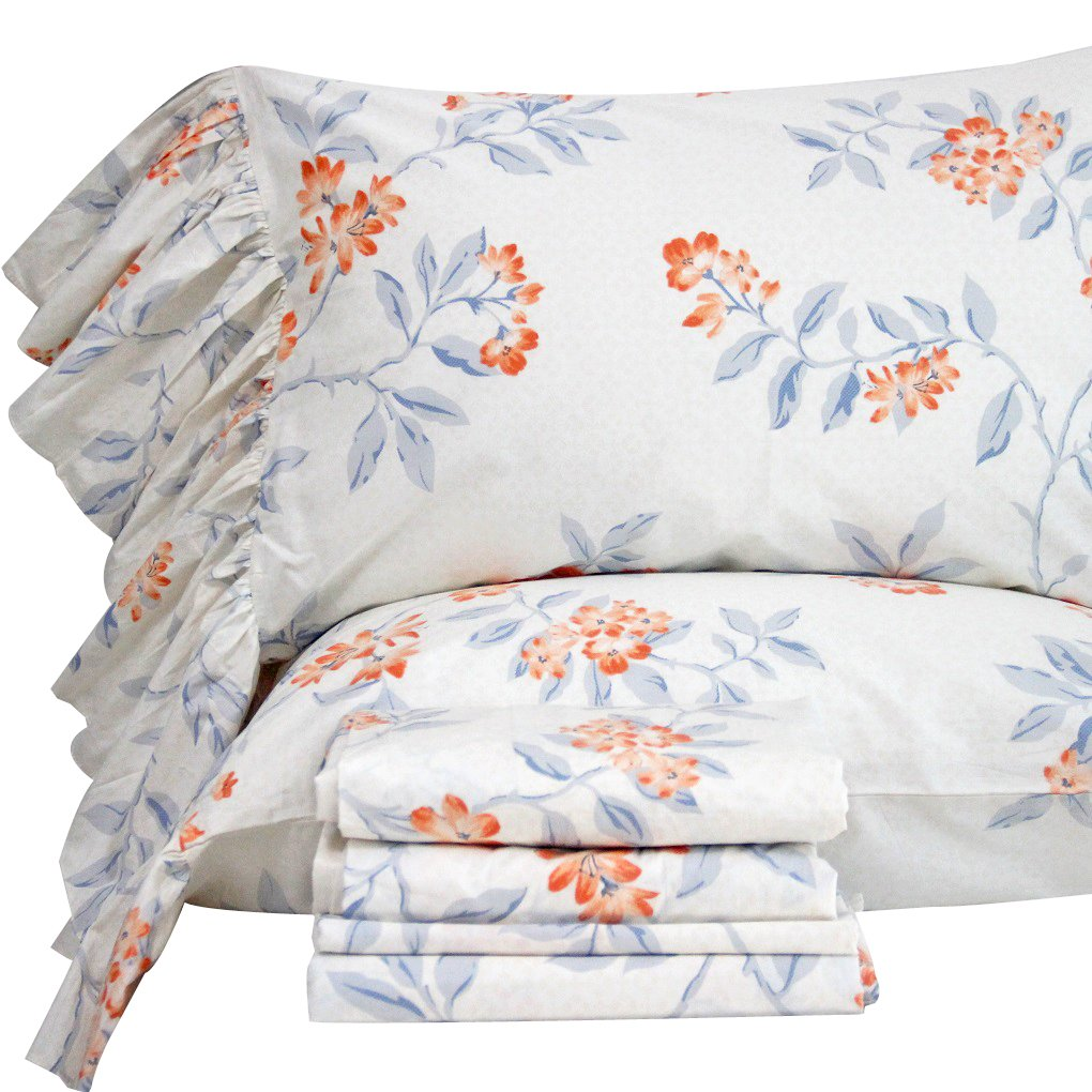 Queen's House French Country Floral Bed Sheet Sets King Size-Style V