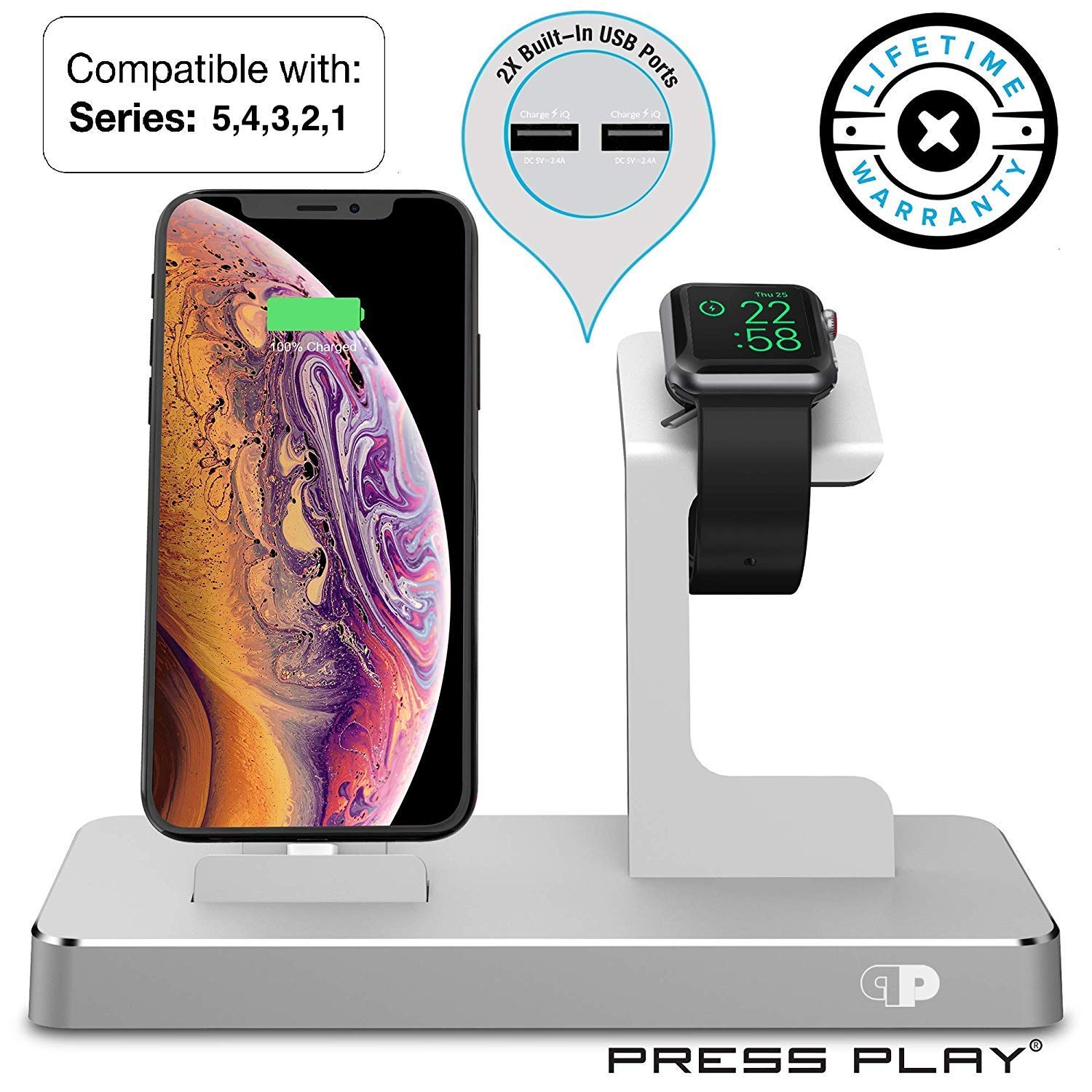 ONE Dock (APPLE CERTIFIED) Power Station Dock, Stand & Built-In Lightning Charger for Apple Watch Smart Watch (Series 5,4,3,2,1, Nike+), iPhone, iPad, and iPod by Press Play
