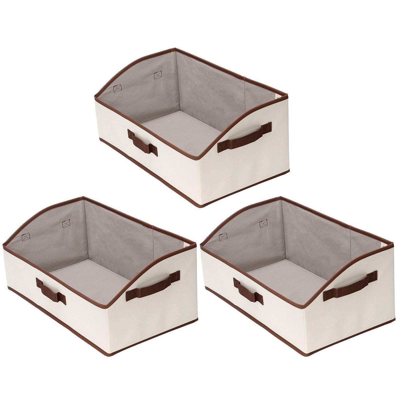 StorageWorks Storage Bins, Fabric Storage Baskets, Foldable Closet Organizer Trapezoid Storage Box, Polyester Canvas, Beige, EX-Jumbo, 3-Pack