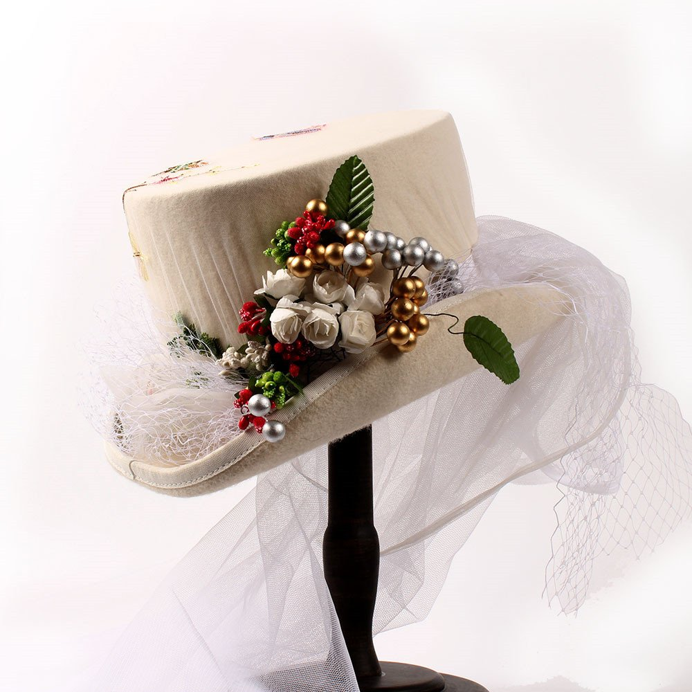 XACQuanyao Hut für elegante Damen Gaotongtan Wollhut-Festival-Hut-Partei-Hut mit weißer Gaze und Blatt-Frucht-Verzierungen für Frauen (Farbe : Weiß, Größe : 57cm)
