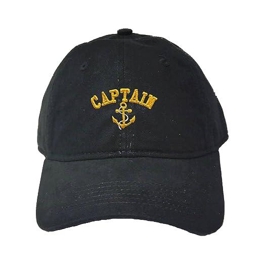 58e555db9da Amazon.com  Adjustable Black Adult Captain with Anchor Embroidered ...