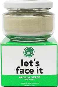 Mascarilla Facial de arcilla verde, para piel grasa, Let's Face it, Let's Coco. Mascarilla facial con cafeína, Cont. 70 Gr – 2.4 Oz