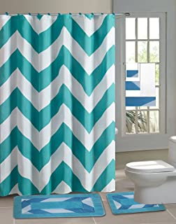 Chevron Turquoise Blue 15 Piece Bathroom Accessory Set 2 Bath Mats Shower Curtain