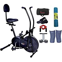 Lifeline Exercise Air Bike Cycle for Home Use | Bundles with Back Support, Yoga Mat (6 MM) and Accessories (6 Items)