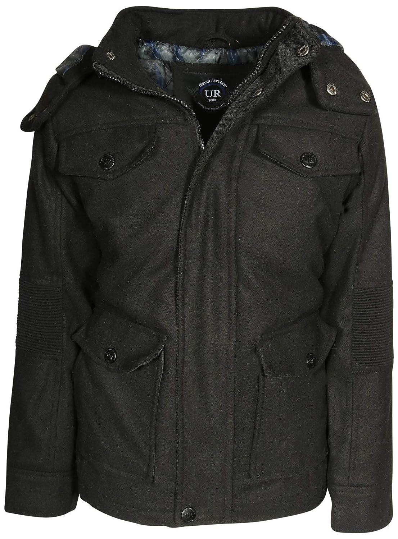 Urban Republic Boys Wool Officer Jacket Hood