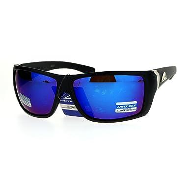 1f43227ac7 SA106 Mens Arctic Blue Mirror Lens Sport Plastic Biker Warp Sunglasses  Matte Black