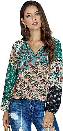 Camisa De Mujer Moda Casual Manga Larga con Cuello En V Bohemio Camisa De Mujer Campesina con Estampado Floral Camisa De Gasa S-XXL, Verde, XXL: Amazon.es: Ropa y accesorios