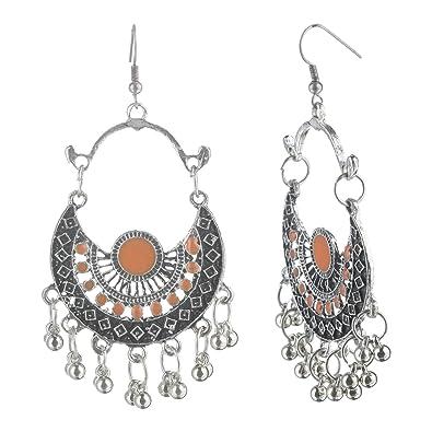 756a97d3b Efulgenz Boho Jewelry Indian Oxidized Silver Afghani Vintage Retro Ethnic  Dangle Tribal Tibetan Gypsy Dangle Earrings