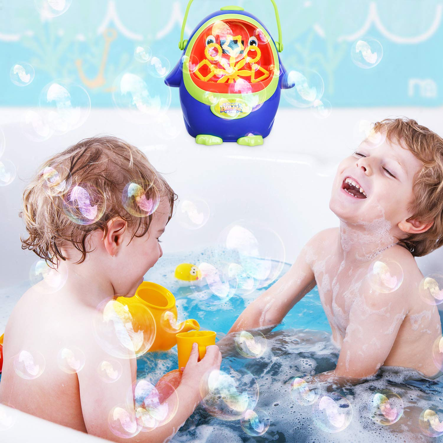 Bubble Machine - Automatic Bubble Blower with Bubble Solution for Kids Toddlers, Portable Bubble Maker with Bubbles Solution for Party, Wedding, Outdoor and Indoor Use, Battery Operated, Penguin Shape by LOYO (Image #2)
