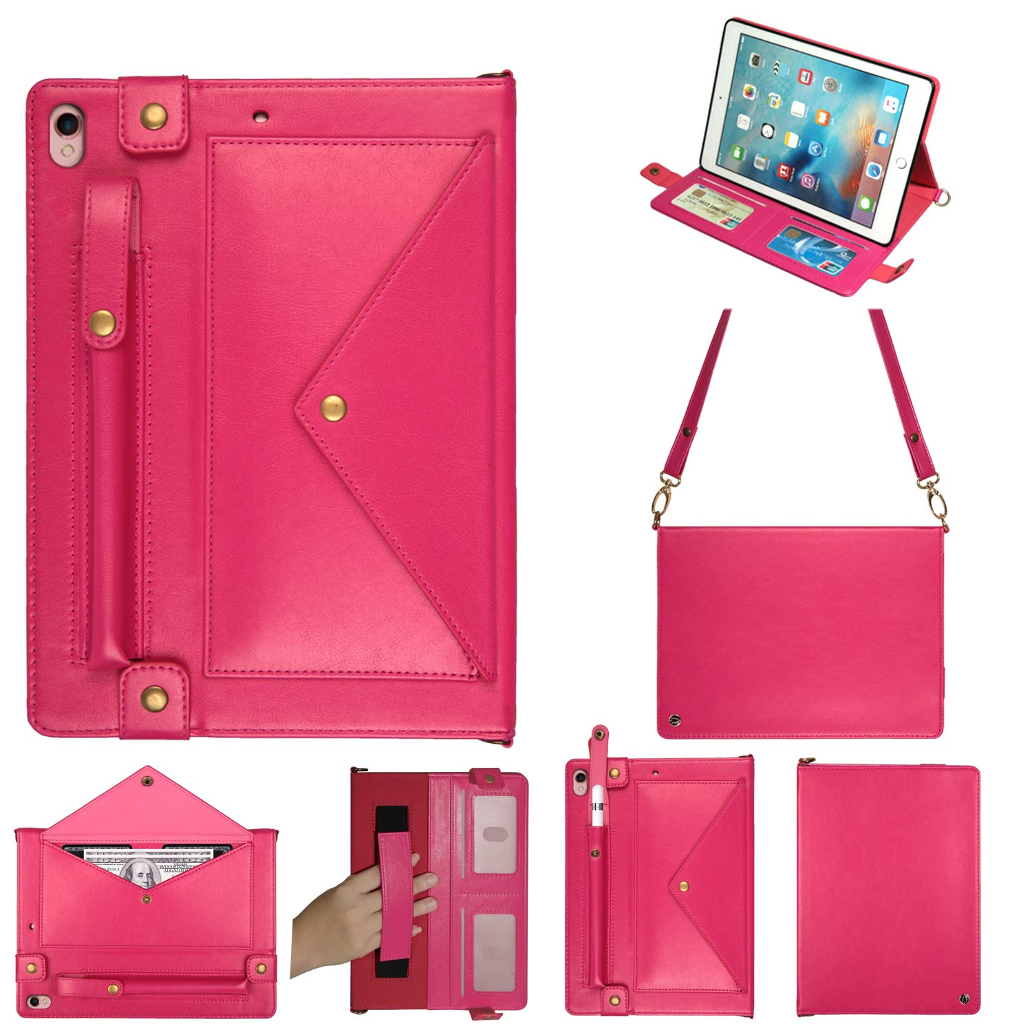 MeiLiio Wallet Case for iPad Pro 10.5 File Folio Pocket PU Leather Hangbag Shell Magnetic Stand Multi Function Sleeve Protective Cover for iPad Air 3 Women&Girl (Hot Pink) by MeiLiio