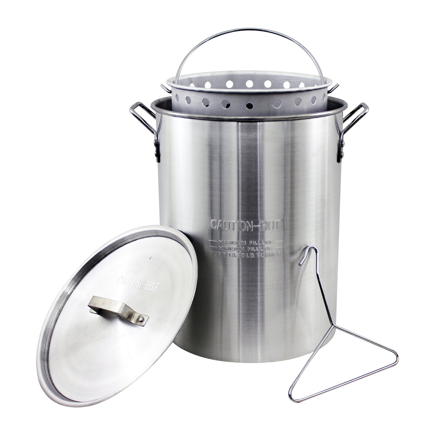 Chard ASP30, Aluminum Stock Pot and Perforated Strainer Basket with Safety Hanger, 30 Quart by Chard