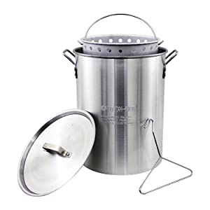Chard ASP30, Aluminum Stock Pot and Perforated Strainer Basket with Safety Hanger, 30 quart