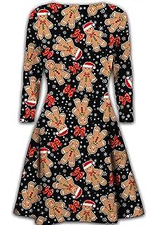 695da9c42f0d Weihnachten Kleid FORH Damen Winter Niedlich Elche Santa Schneeflocken  Weihnachtsdeko muster Festlich Kleid Cocktailkleid Abendkleid Swing Kleid