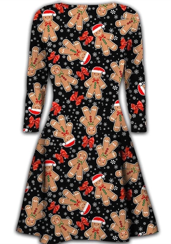 c918d66e40c9c Womens Christmas Dresses Ladies Long Sleeve Olaf Santa Novelty Stocking Xmas  Swing Plus Size  Amazon.co.uk  Clothing
