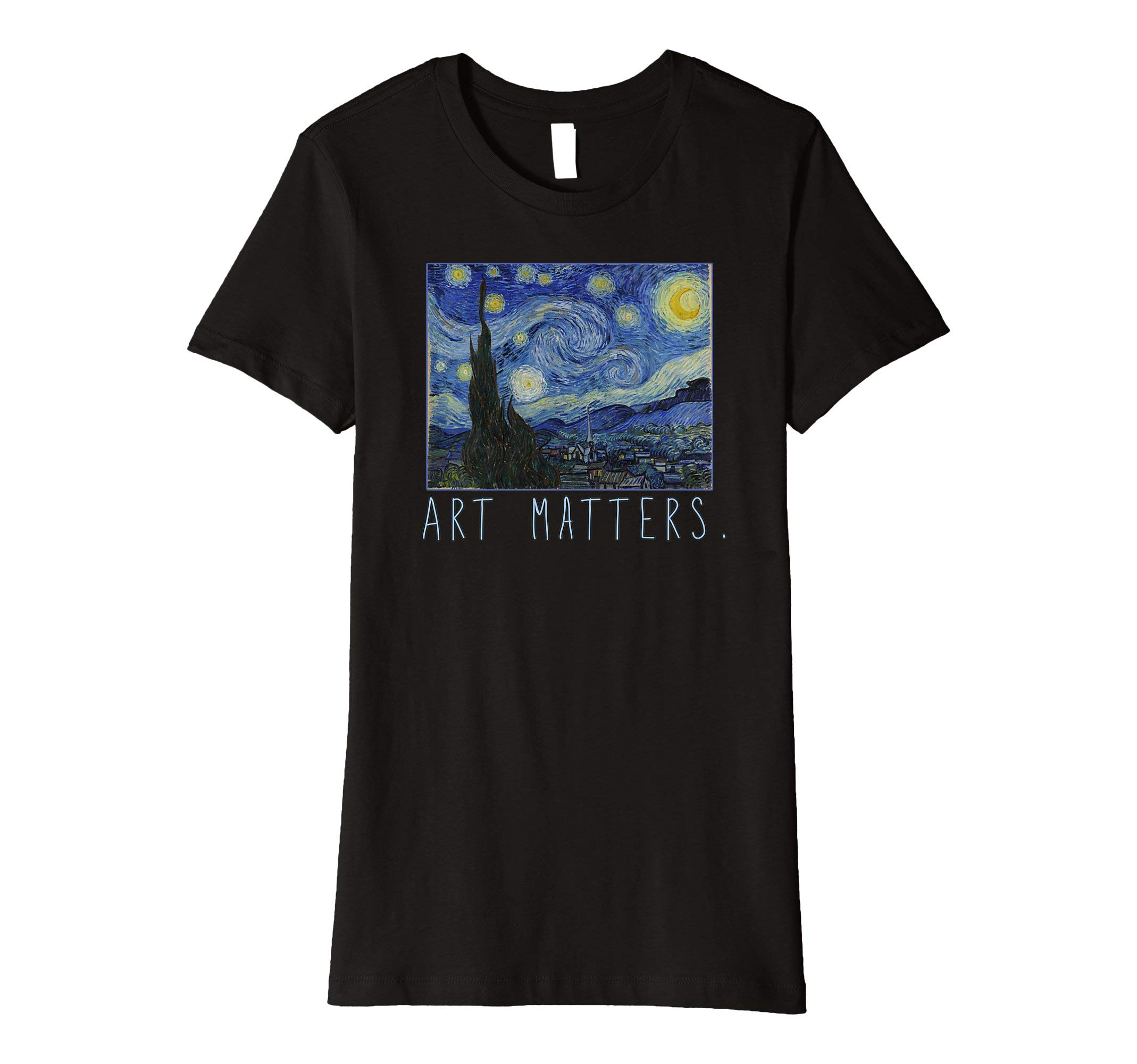 Womens Van Gogh Starry Night T-shirt Art Matters Large Black