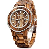 Bewell 100BG Wooden Watch Analog Quartz Light Weight Vintage Wrist Watch for Men