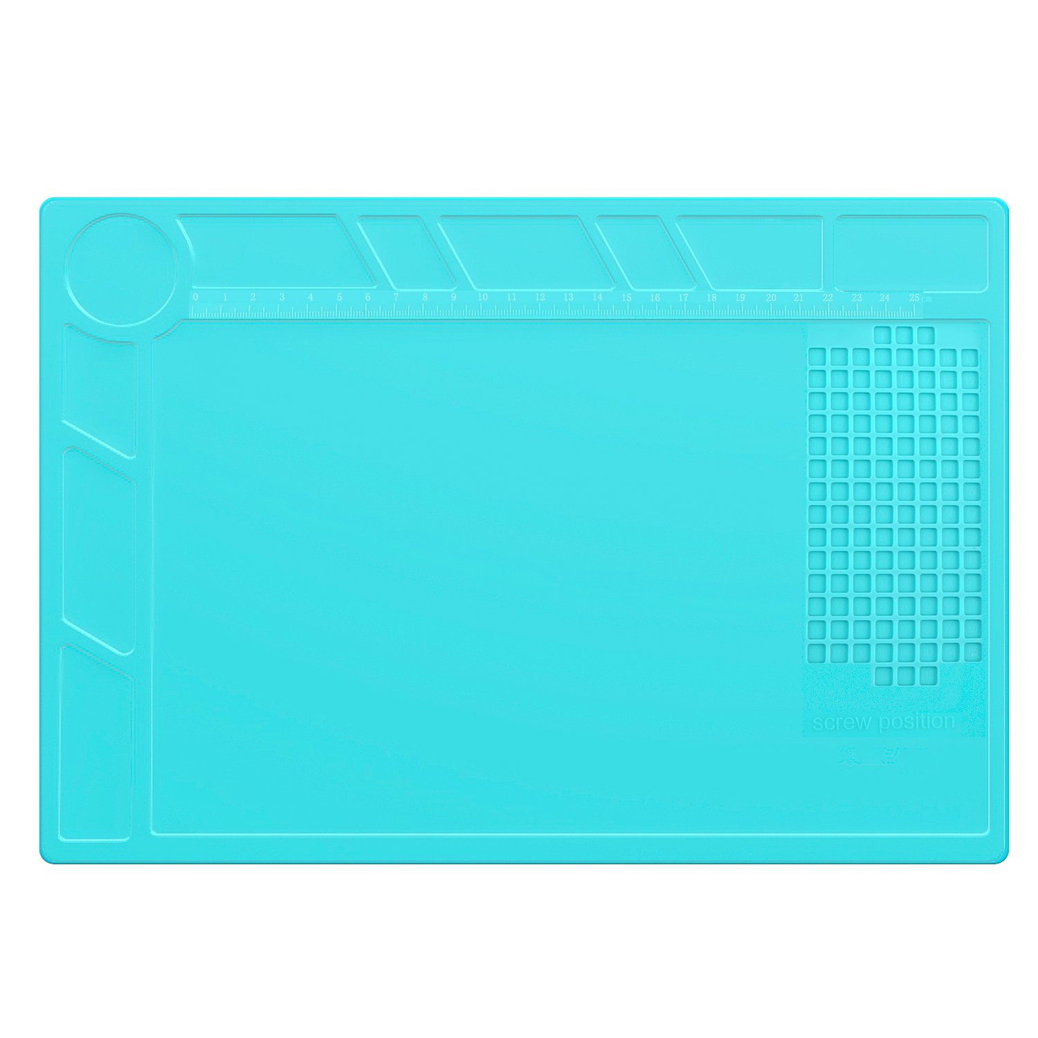 Housolution Silicone Repair Mat, 13.3 x 9 Inch Heat Resistance Silicone Desk Mat for Electric Soldering Iron Maintenance Work Pad with Scale Ruler, Blue