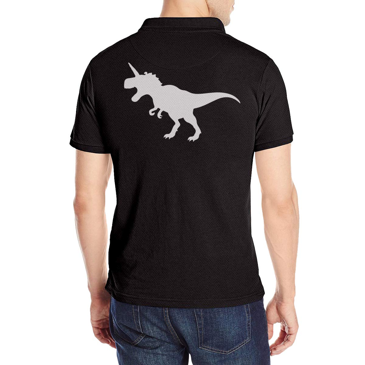 T-rex and Unicorn Mens Short Sleeve Polo Shirt Regular Blouse T-Shirt