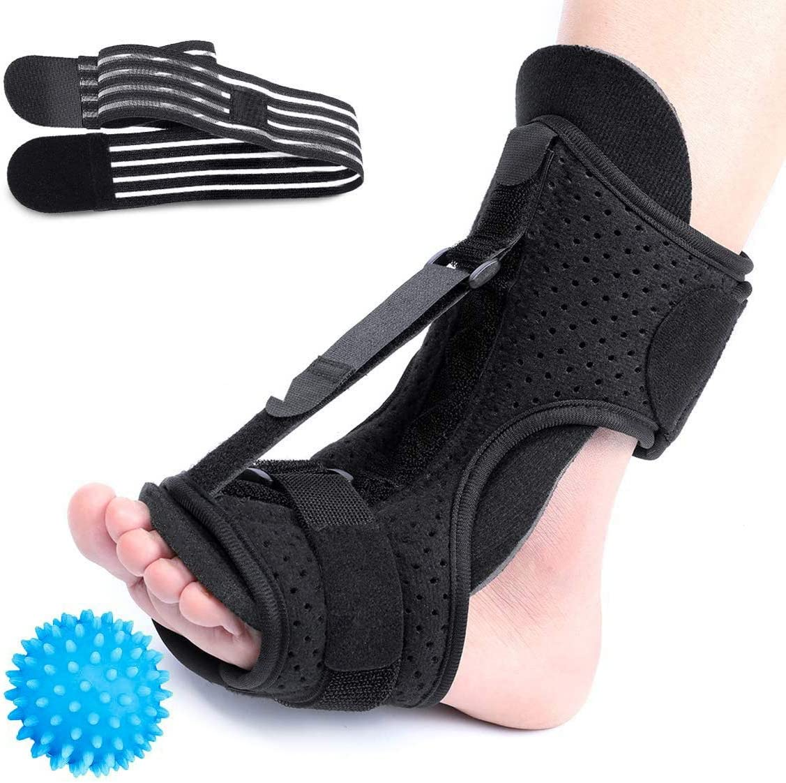 CHARMINER Plantar Fasciitis Night Splint Foot Drop Orthotic Brace, Adjustable Elastic Dorsal Splint, Effective Relief from Plantar Fasciitis Pain, Heel, Arch Foot Pain Green: Sports & Outdoors