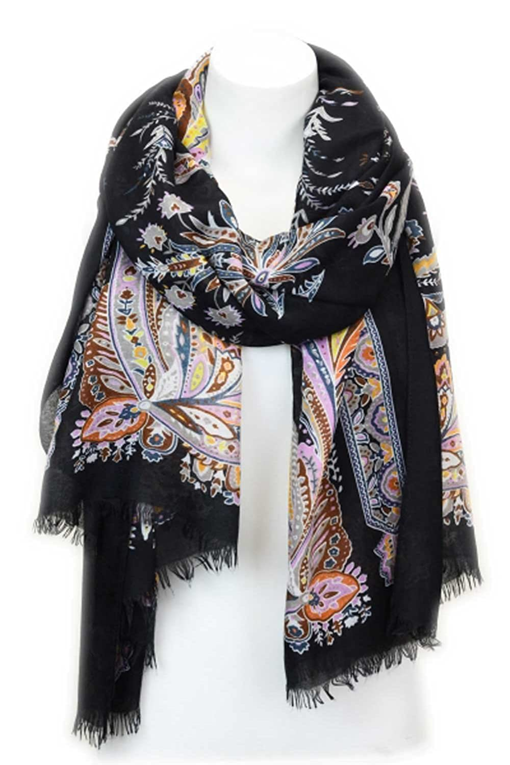Aesthetinc Classic Paisley Pattern Oblong Scarf Wrap with Wool