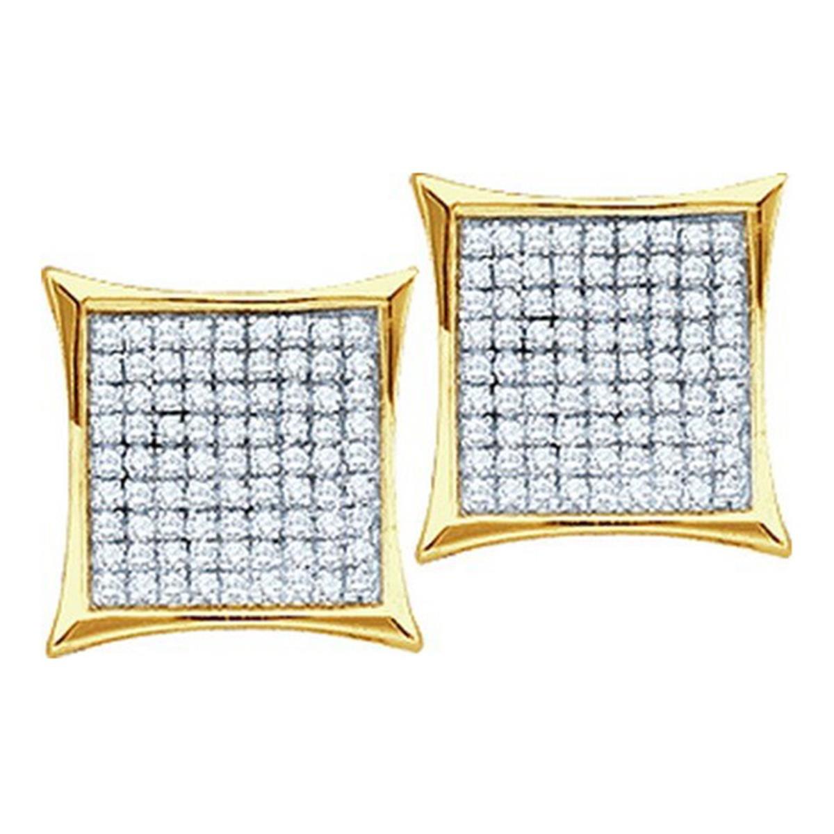 10k Gold Kite Earrings 0.15cttw Diamond Mens Earrings Large 9mm Wide Screw Back(i3/j/k)