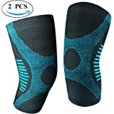 JforU Athletics Knee Brace Compression Sleeve Support - 1 Pair for Running, Jogging, Basketball, Sports, Joint Pain Relief, Meniscus Tear, Arthritis and Injury Recovery
