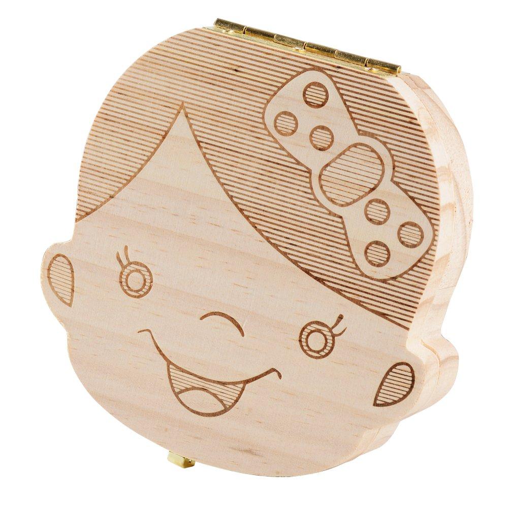(5 estilos para elegir) Cajita de Madera para Guardar Dientes de Leche Caja de Organizador Almacenaje Regalo Recuerdo para Recién Nacidos Niños Niñas 5 ...