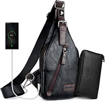 Men/'s Leather shoulder bag Crossbody sling bag chest pouch bag Travel backpack