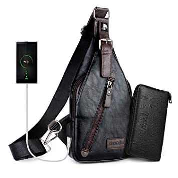 Mens Shoulder Bag Sling Chest Bag Faux Leather Usb Charge Sport Crossbody Bag Making Things Convenient For The People Fine Jewelry