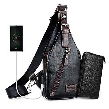 c0df6bd11f8 Alena Culian Sling Backpack Men Leather Chest Bag Crossbody Shoulder Bag  For Men(black)