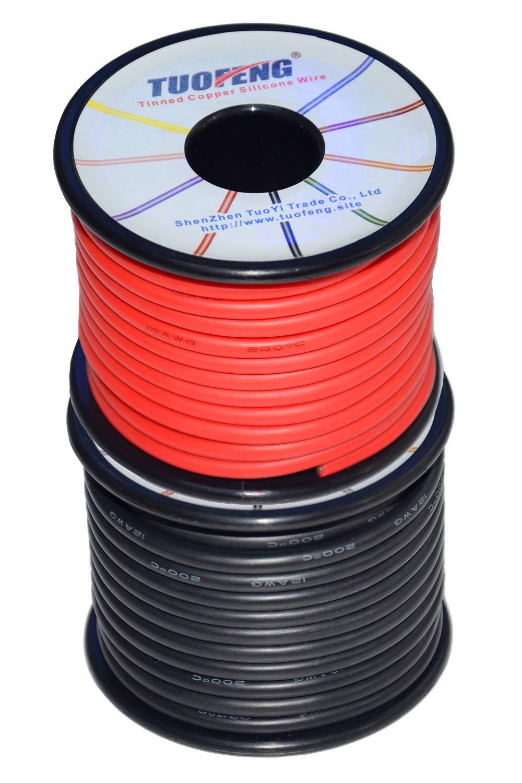 Fil de silicone de calibre 12 TUOFENG 20 m/ètres 10 m noir et 10 m rouge Fil /électrique 12 AWG avec c/âble de raccordement souple et flexible en fil de cuivre /étam/é r/ésistant aux hautes temp/ératures