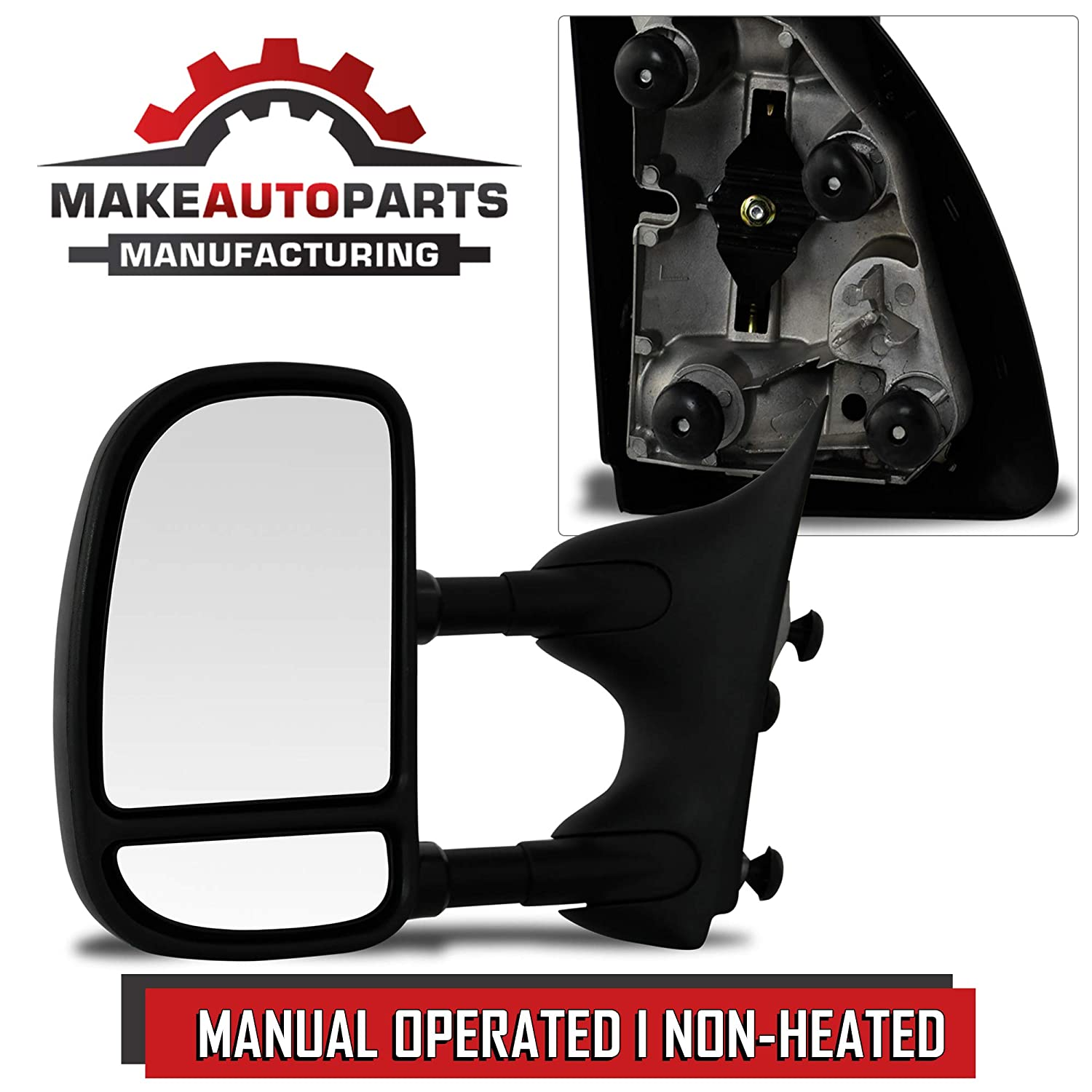 F550 1999-2007 F350 F450 FO1320226 Make Auto Parts Manufacturing Premium Left//Driver Side Manual Operated /& Folding Telescopic Type Non-Heated Towing Mirror For Ford Super Duty F250