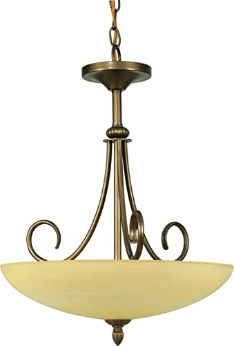 Nuvo 60 168 Three Light Pendant with Gold Alabaster Glass, Flemish Gold