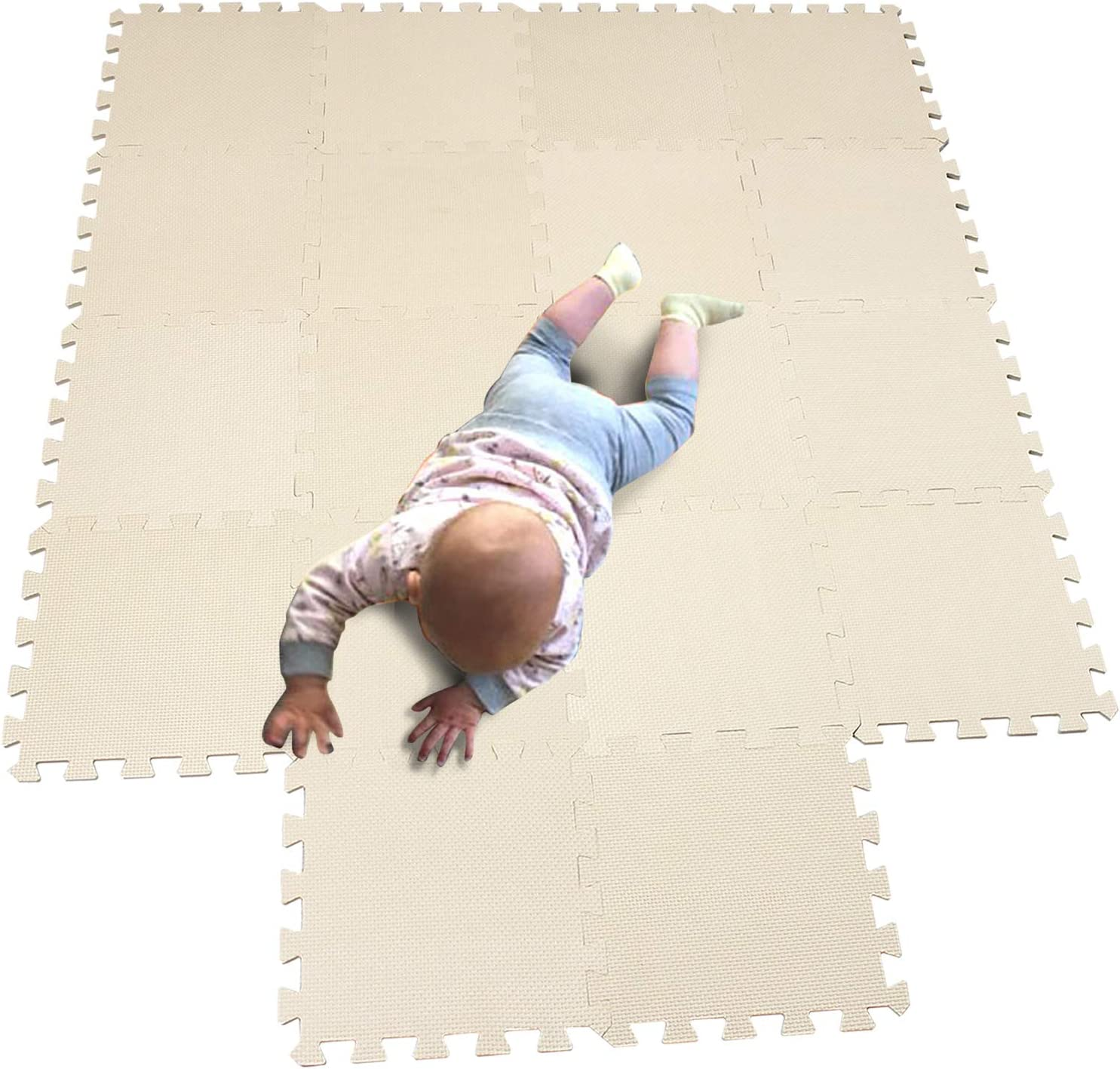 MQIAOHAM 18 pieces Tapis dentrainement Protections sol Tapis de fitness Gymnastique Beige 110