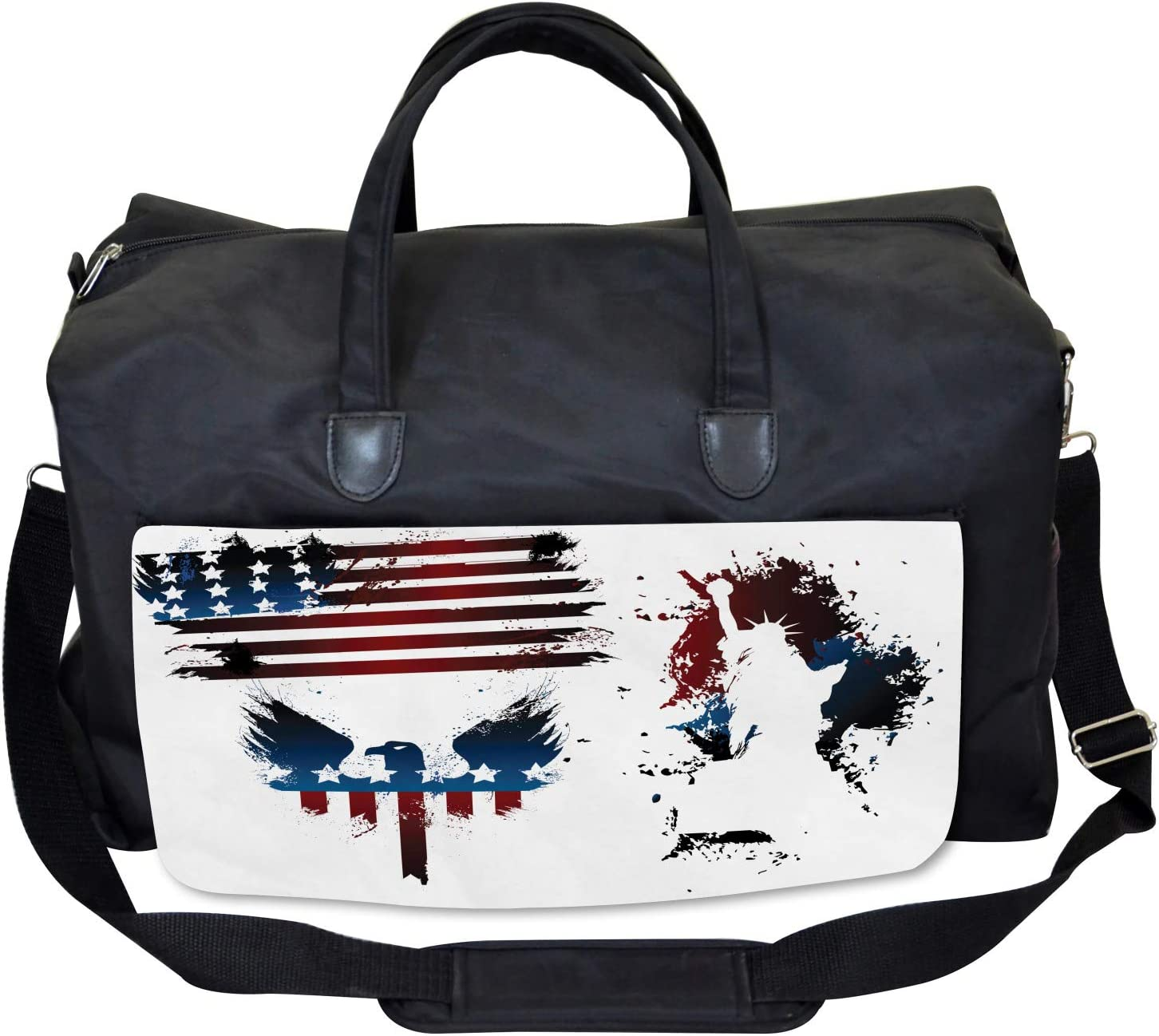 Large Weekender Carry-on Eagle and Stripe Ambesonne American Flag Gym Bag