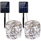 AMIR Solar Powered String Lights, 200 LED Copper Wire Lights, 72ft 8 Modes Starry Lights, Waterproof IP65 Fairy Christams Decorative Lights for Outdoor, Wedding, Homes, Party (White - Pack of 2)