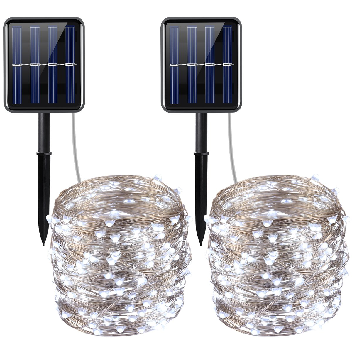 AMIR Solar Powered String Lights, 200 LED Copper Wire Lights, 72ft 8 Modes Starry Lights, Waterproof IP65 Fairy Christams Decorative Lights for Outdoor, Wedding, Homes, Party (White - Pack of 2) by AMIR