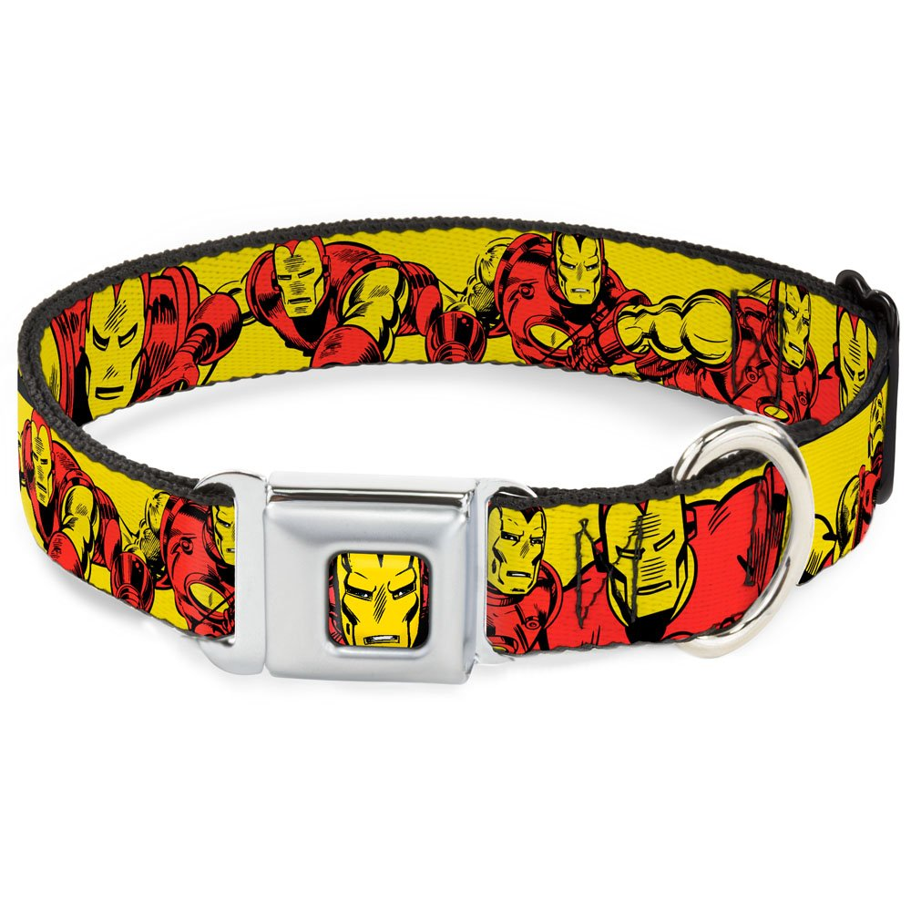 1.5\ Buckle-Down DC-WIM004-WL Dog Collar Seatbelt Buckle, Iron Man Body Action Repeat Yellow, 1.5  by 18-32