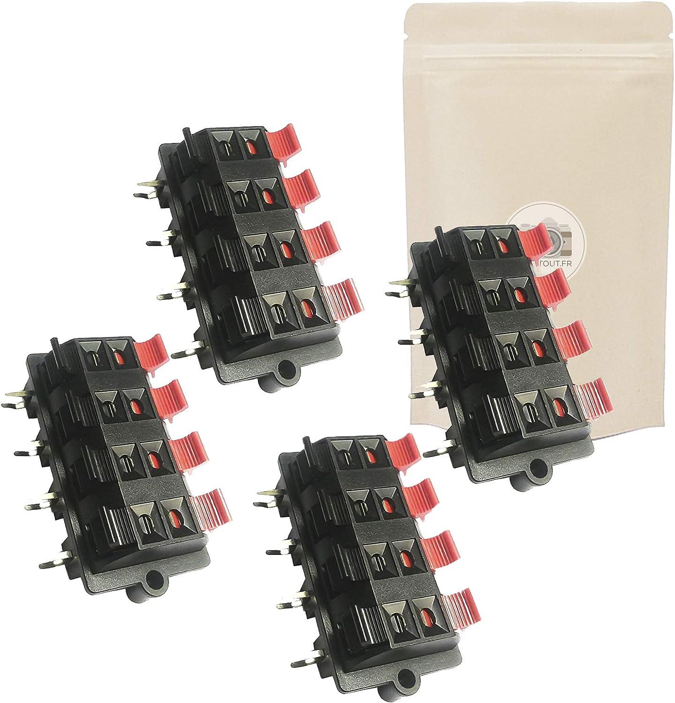 Adaptout Marque Fran/çaise Lot de 4 Bornier 8 Voies pour Enceinte Haut Parleur Connecteur /à Boutons Poussoirs Connection Adaptateur
