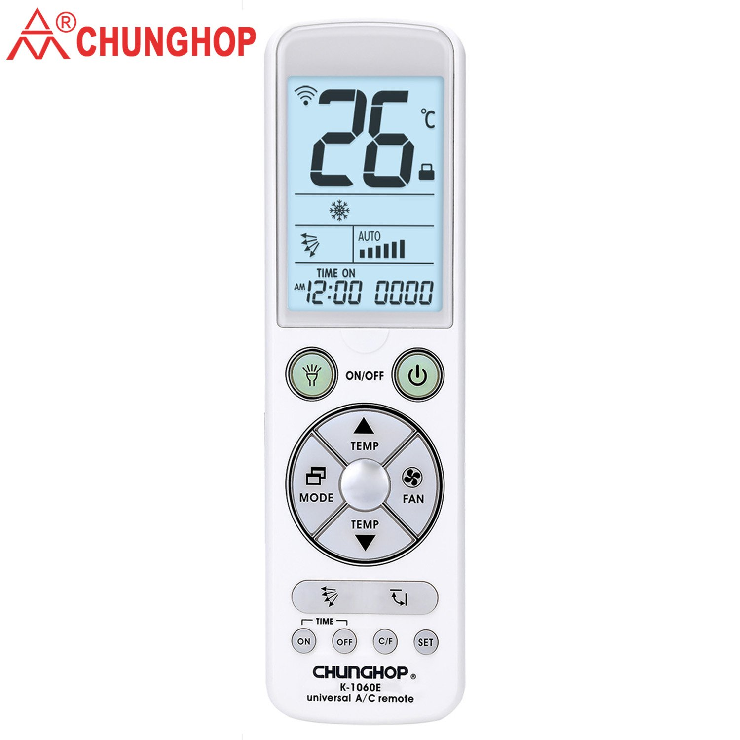 Chunghop Universal Remote for Air Conditioner Control with Back Light Big Monitor Air Conditioning Controller K-1060e 5000Code in 1 for LG, Samsung, Fujitsu, Daewoo, Gree, Carrier, Panasonic AC etc.