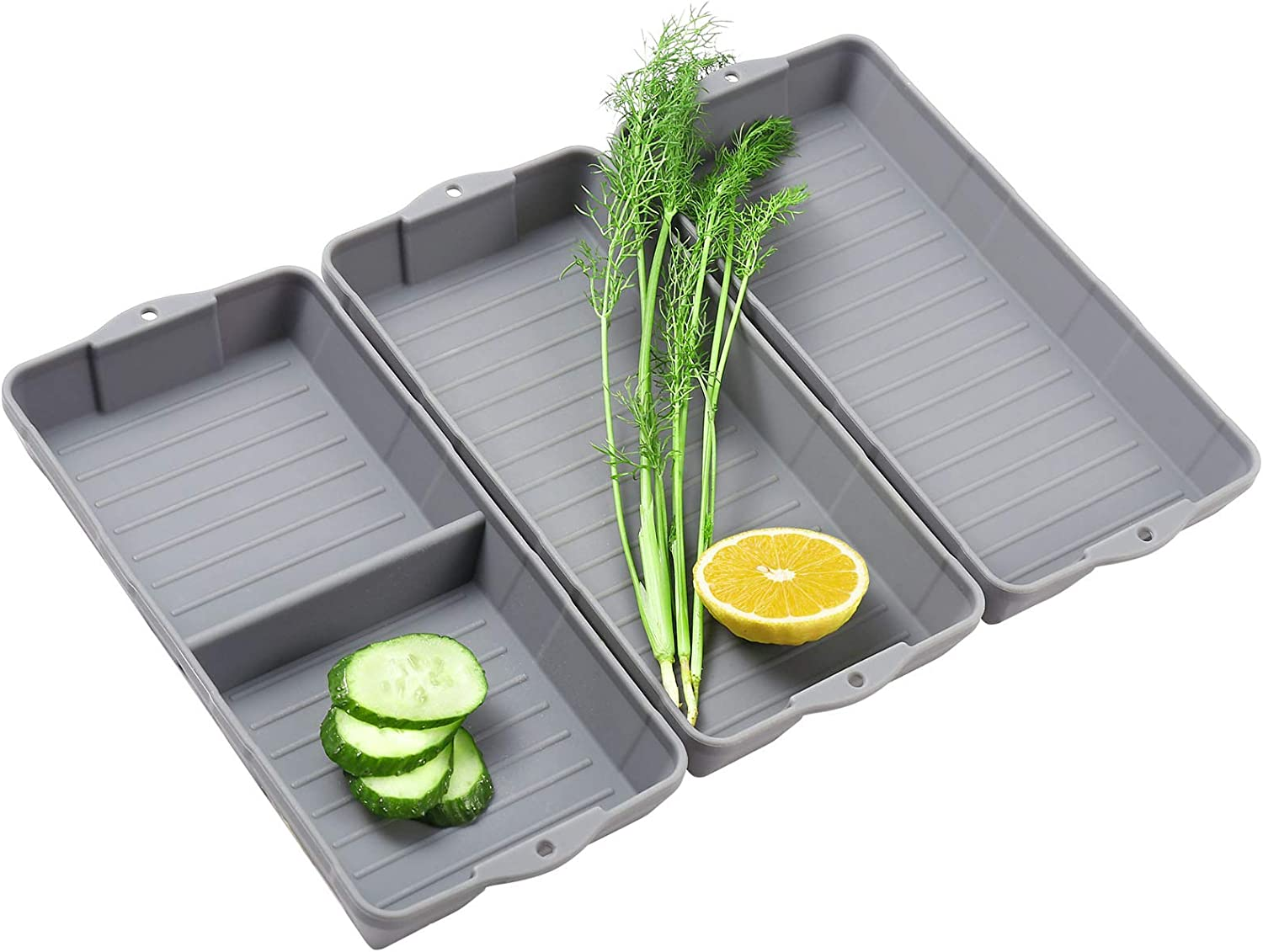 Zip Standing Nonstick Silicone Baking Sheet Pan, Siliconebaking trays Dividers, Suitable for oven, air fryer to simplify cooking, Safe to use and easy to clean.(3 gray))