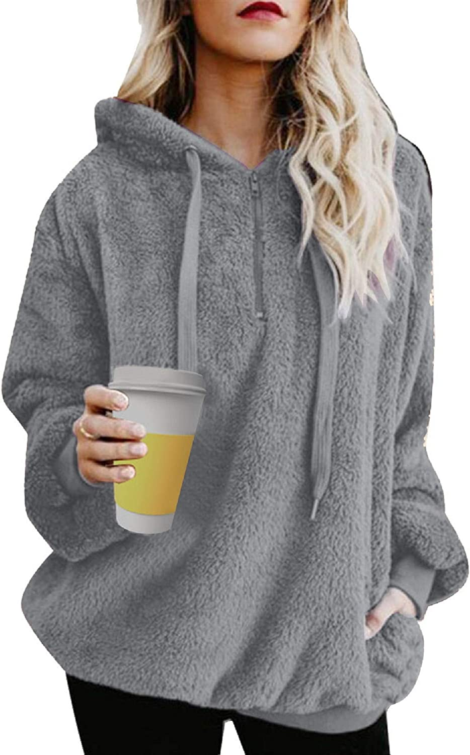 UMIPUBO Womens Sweatshirt Fuzzy Casual Loose Velvet Sweater Long Sleeve Teddy Fleece Hoodies with Pockets Hoodie Drawstring Pullover Jumpers Outwear Coat for Women
