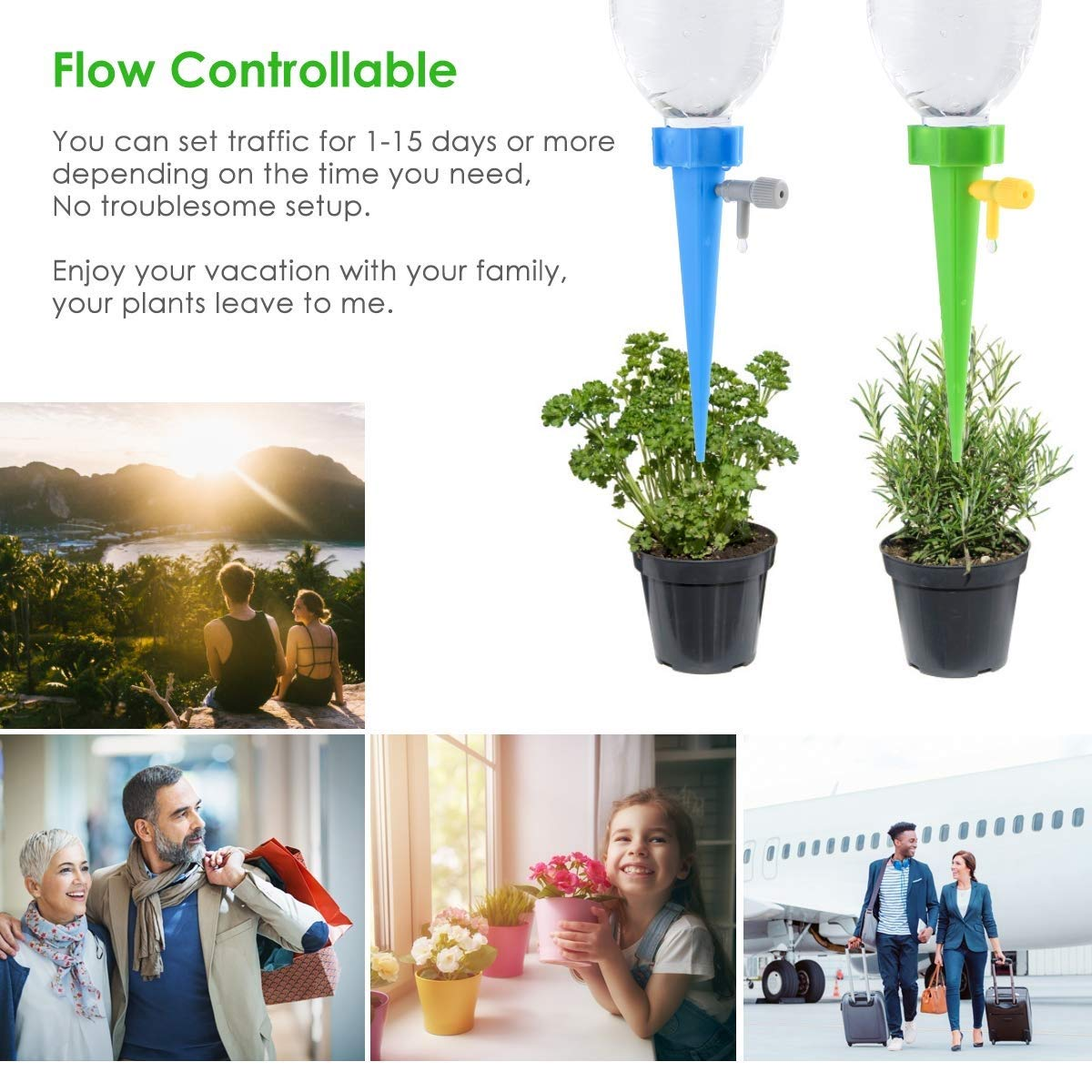 Petyoung Upgraded 12Pcs Plant Self Watering Spikes System,Plant Waterer with Anti-tilt Bracket and Slow Release Control Valve Switch,Self Irrigation Watering Drip Devices Suitable for 98/% Bottles