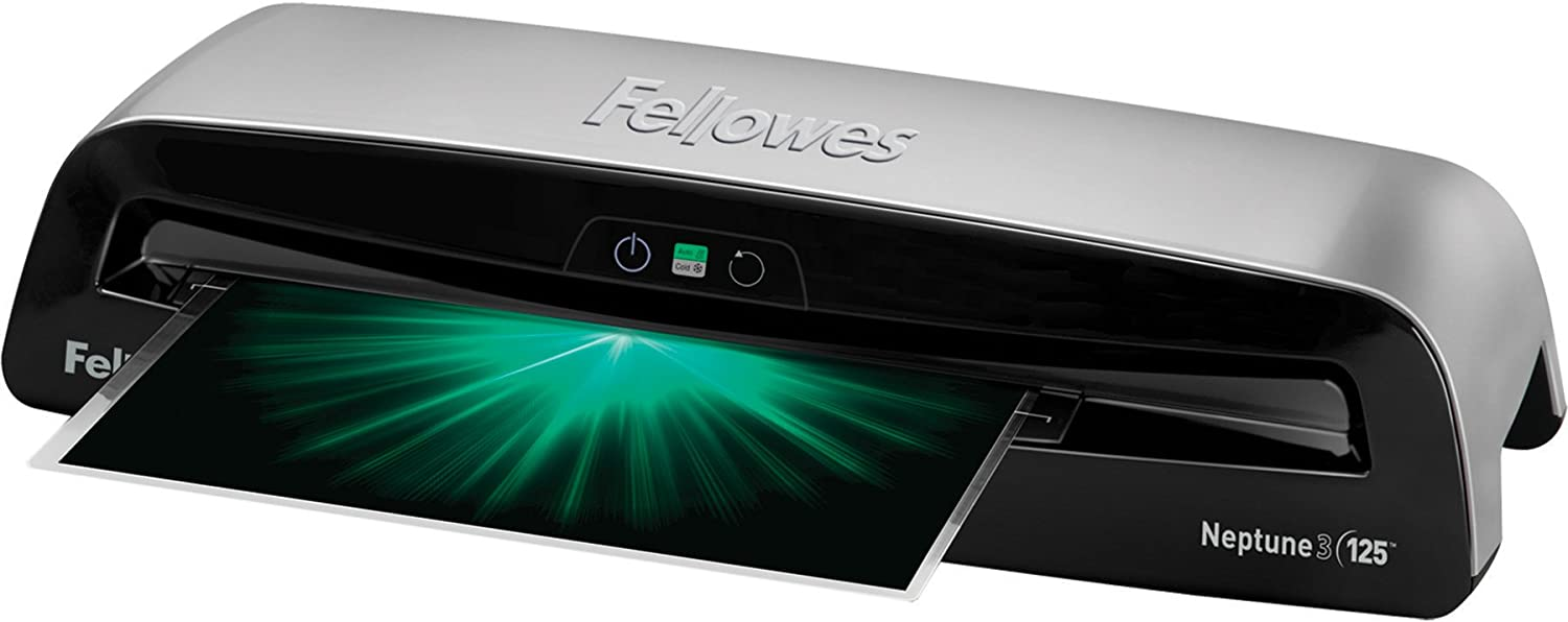 Fellowes Laminator Neptune 3 125, Rapid 1 Minute Warm-up Laminating Machine, Auto Features with Laminating Pouches (5721401)