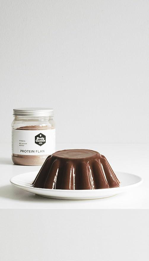 BODY GENIUS Protein Flan (Chocolate). 275g. Preparado en polvo para flan proteico. Con Stevia y Sin Azúcares Ni Polialcoholes Añadidos. Alto en ...